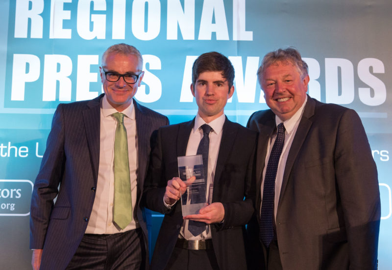 Gareth Davies collects his fourth Weekly Reporter of the Year award at this year's Regional Press Awards 2016